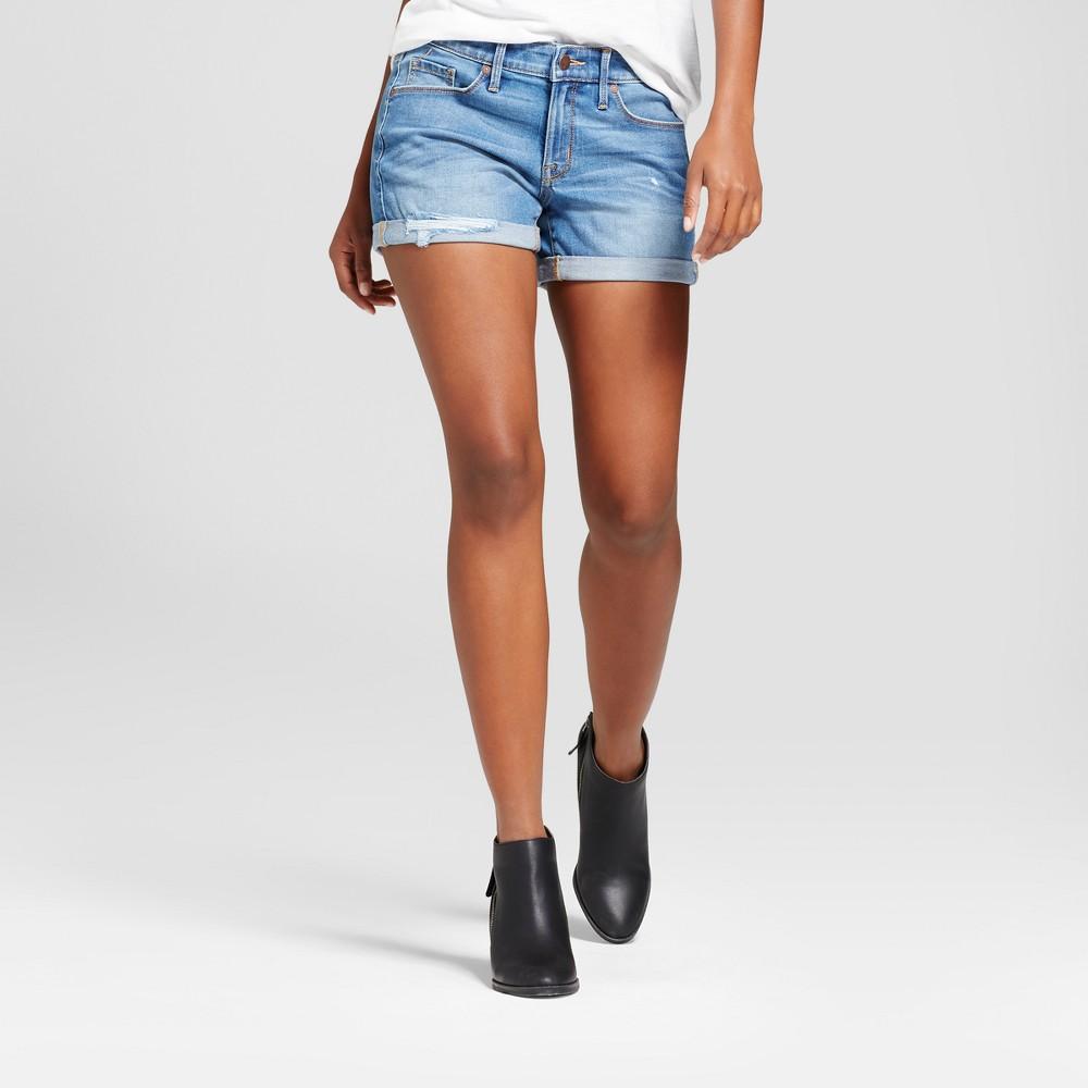 Womens Mid Rise Midi Shorts - Mossimo Medium Wash 14, Blue