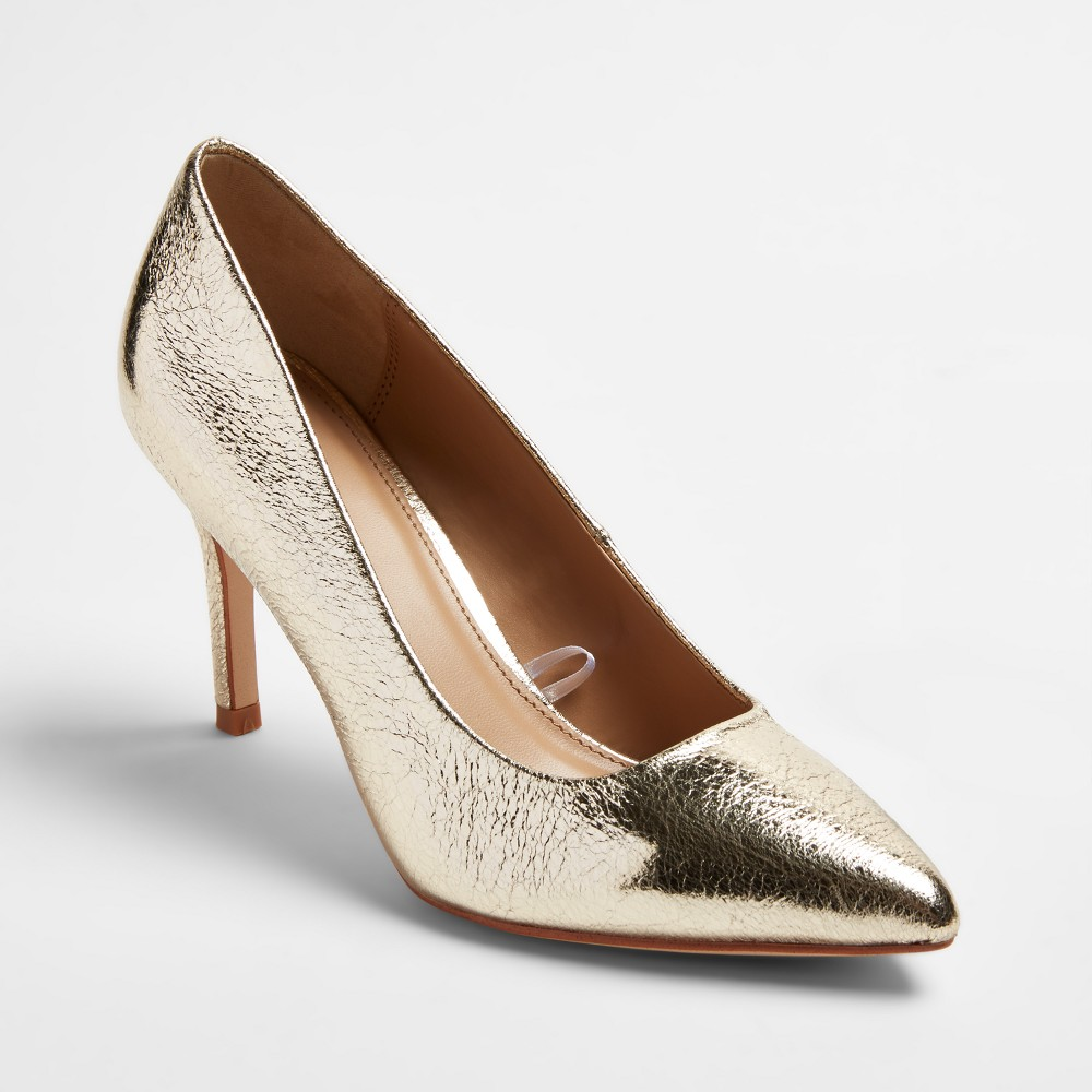 Womens Gemma Pointed Toe Pumps - A New Day Gold 7