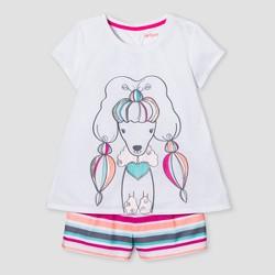 Girls' 2pc Short Sleeve Poodle Pajama Set - Cat & Jack™ White