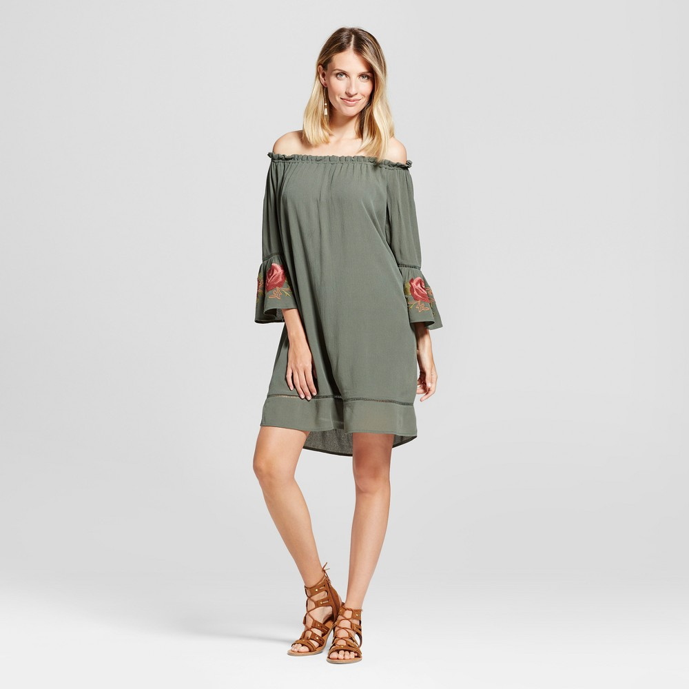 Womens Embroidered Bell Sleeve Off the Shoulder Dress - Knox Rose Olive L, Green
