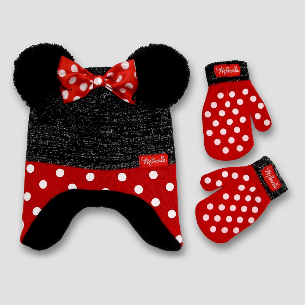 Toddler Disney Minnie Mouse Hat and Mitten Set - Red 2T-4T, Toddler Unisex, Black