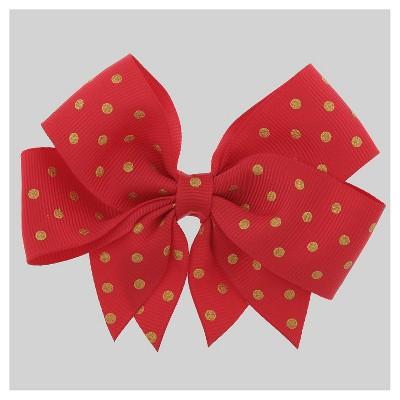Girls' Metallic Grosgrain Foil Dot Print Ribbon Bow Hair Clip Cat & Jack™ Red