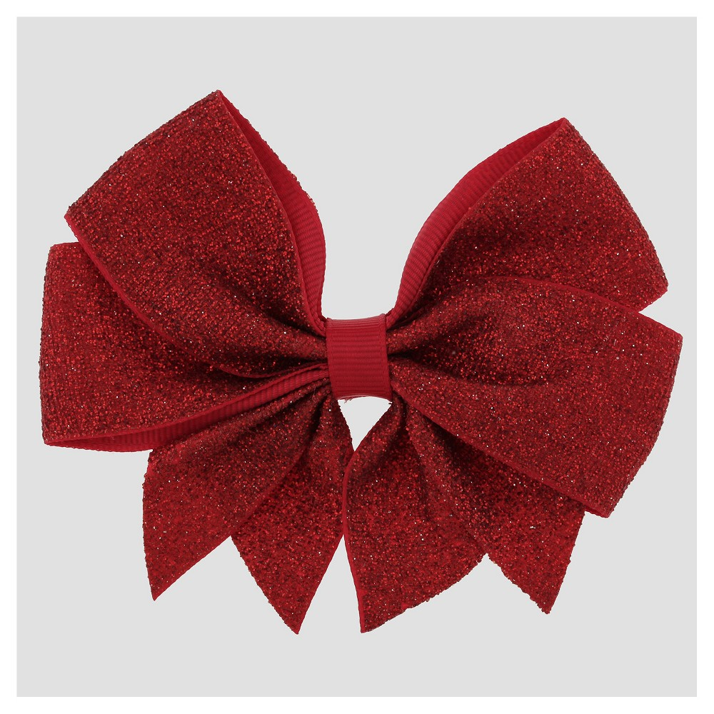 Girls Metallic Grosgrain Ribbon Bow Hair Clip with Tails Cat & Jack Red