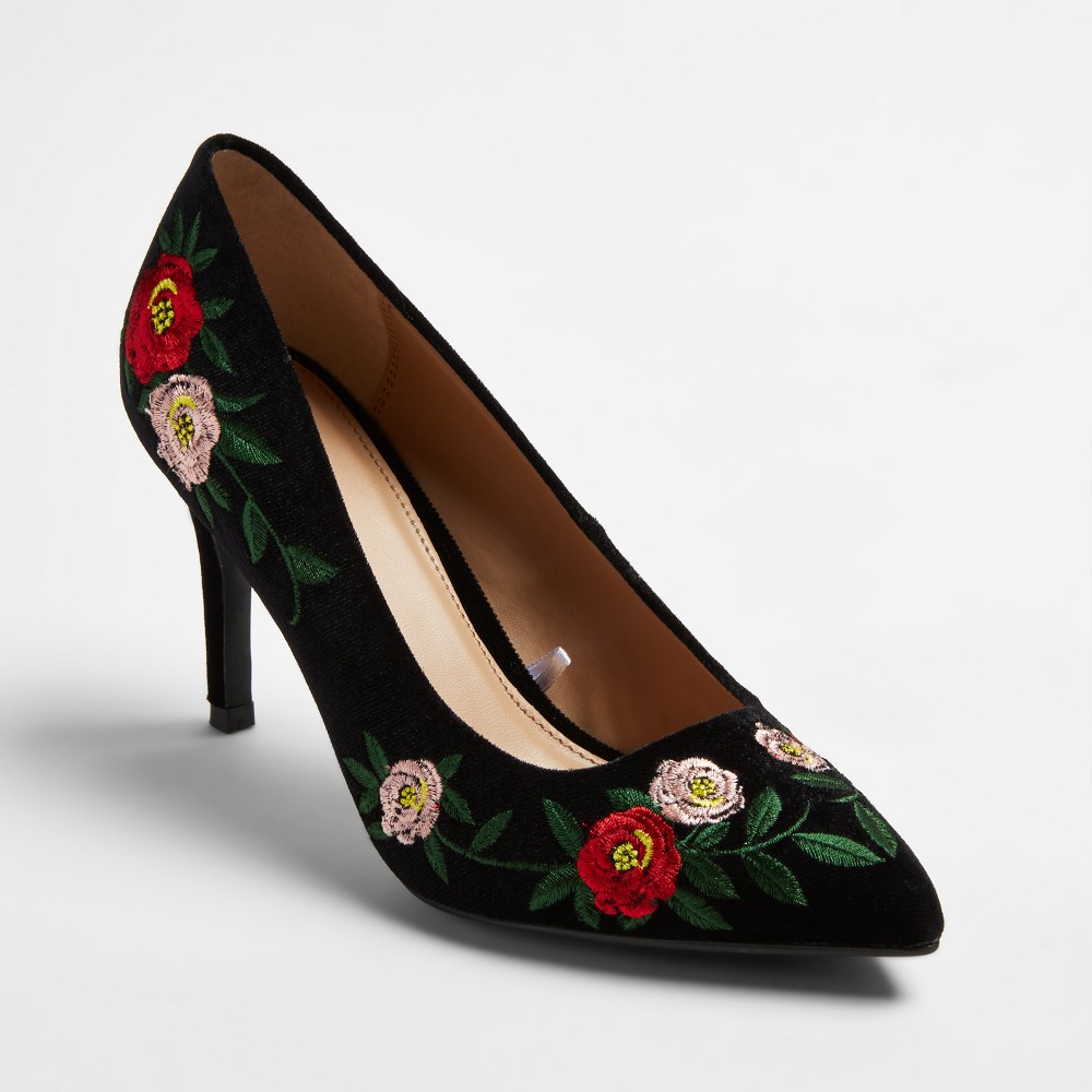 Womens Gemma Pointed Toe Pumps - A New Day Vintage Black 12