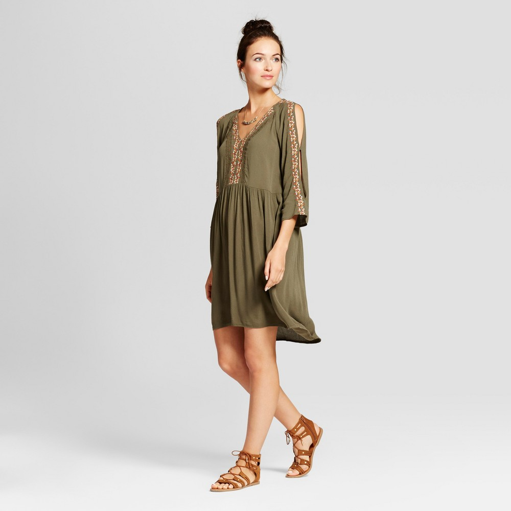Womens Embroidered Sleeve Cold Shoulder Dress - Knox Rose Olive S, Green