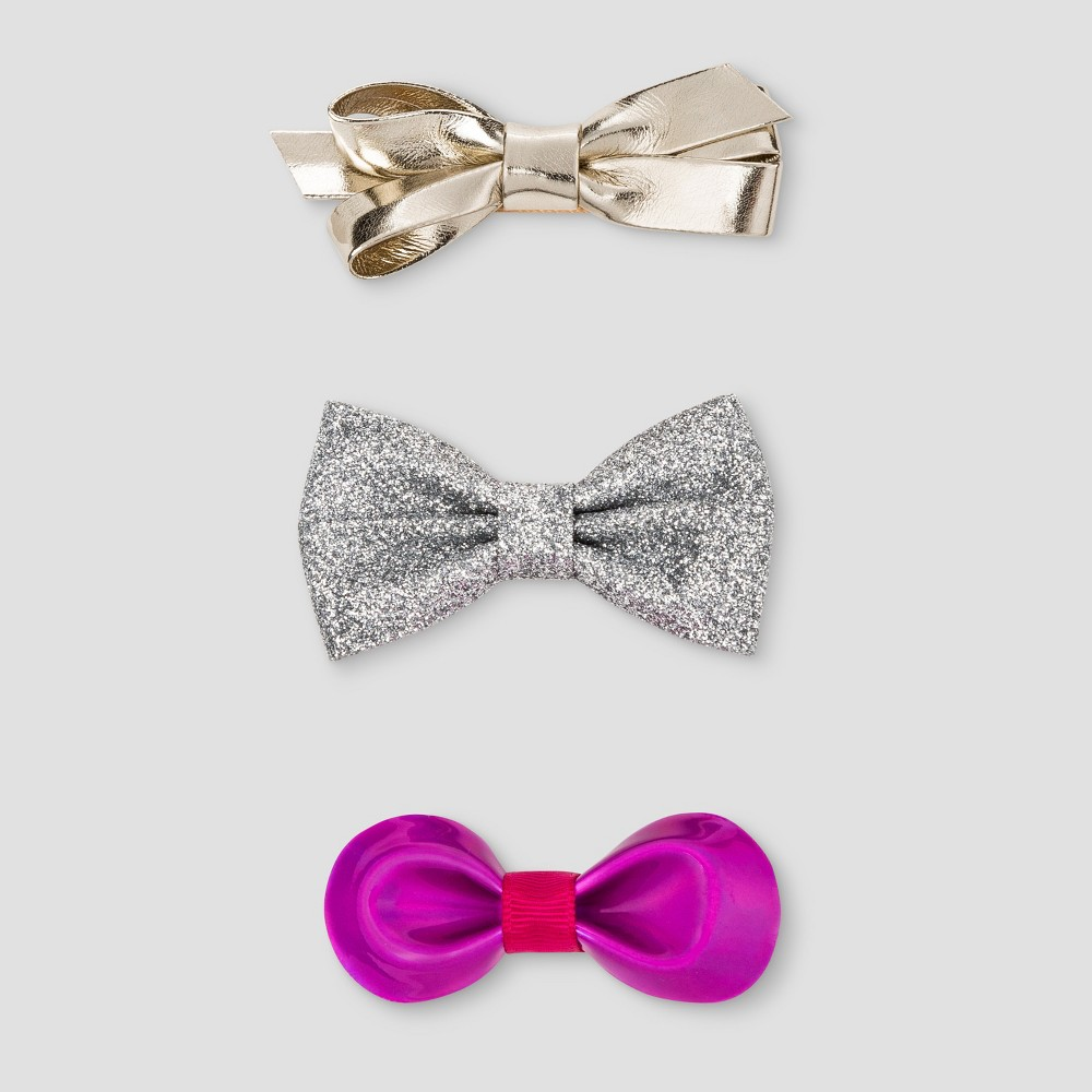 Girls 3pk Assorted Metallic Bow Hair Clips - Cat & Jack Multi-Colored