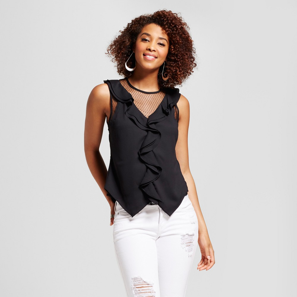 Womens Swiss Dot Illusion Ruffle Top - Xoxo (Juniors) Black L