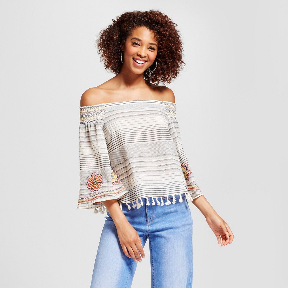 Womens Embroidered Stripe Smocked Off the Shoulder Tassel Top - Xoxo (Juniors) S, Multicolored
