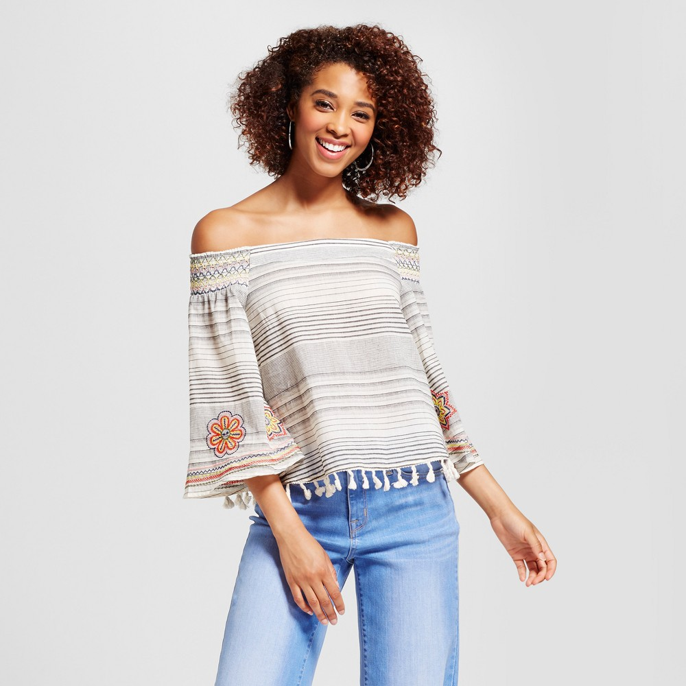 Womens Embroidered Stripe Smocked Off the Shoulder Tassel Top - Xoxo (Juniors) L, Multicolored