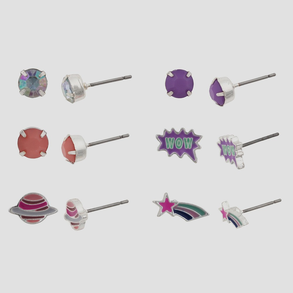 Girls 6pk Space Themed Earring Set - Cat & Jack Multi-Colored