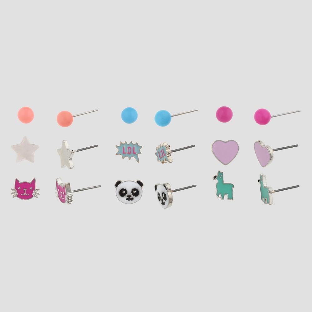 Girls 9pk Animal Theme Earring Set - Cat & Jack Multi-Colored