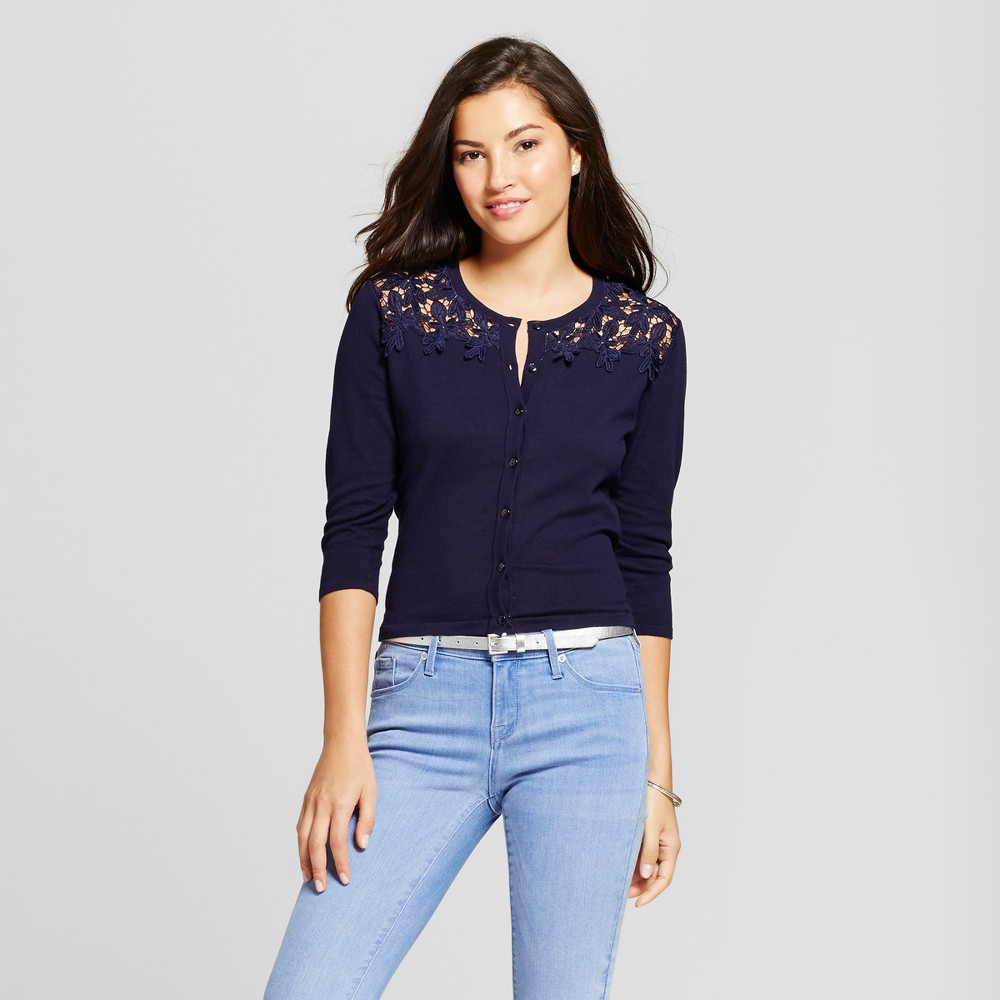 Womens Cardigan with Lace Yoke Detail - August Moon - Navy L, Blue