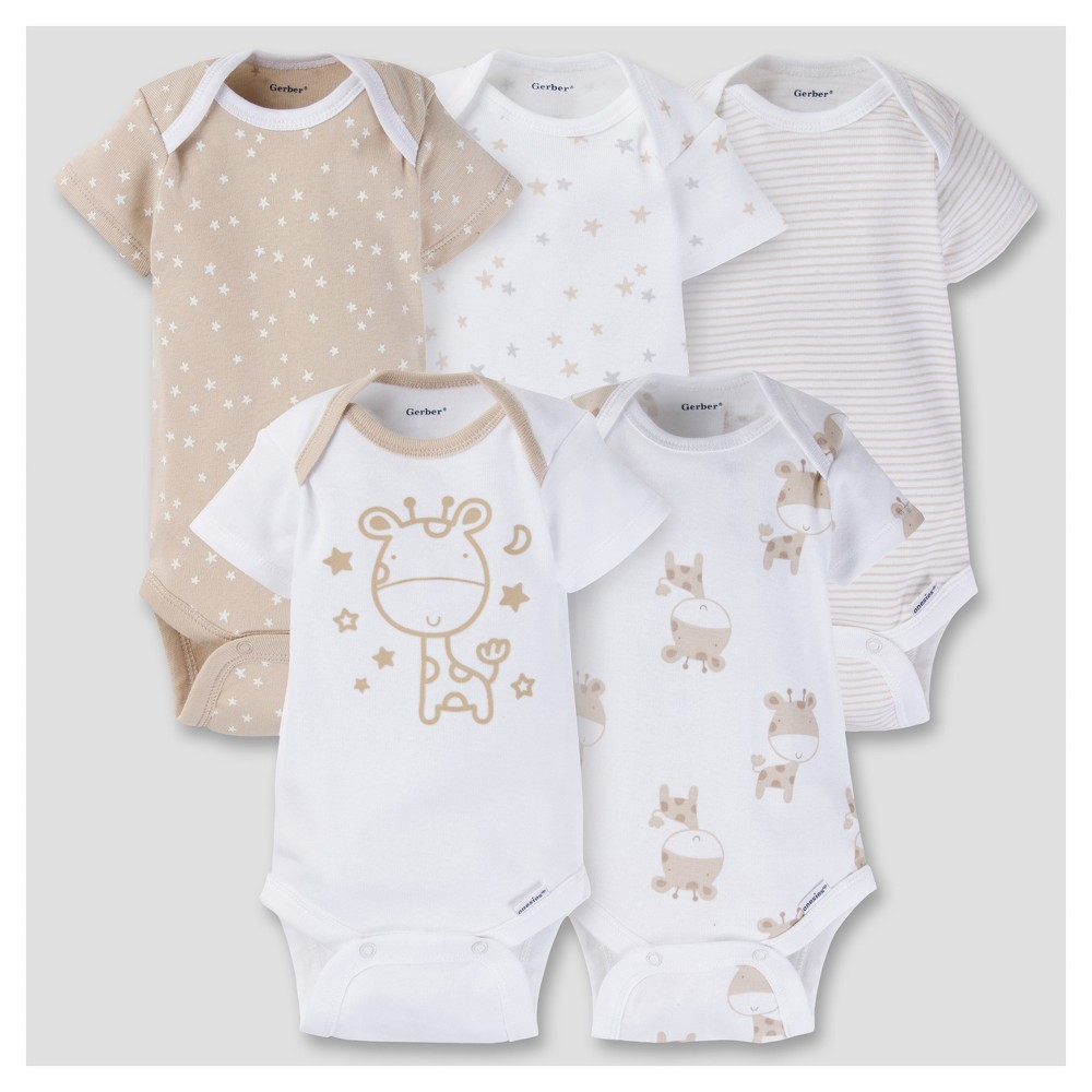 Baby Girls 5pk Onesies Bodysuit - Giraffe Brown 0-3M - Gerber