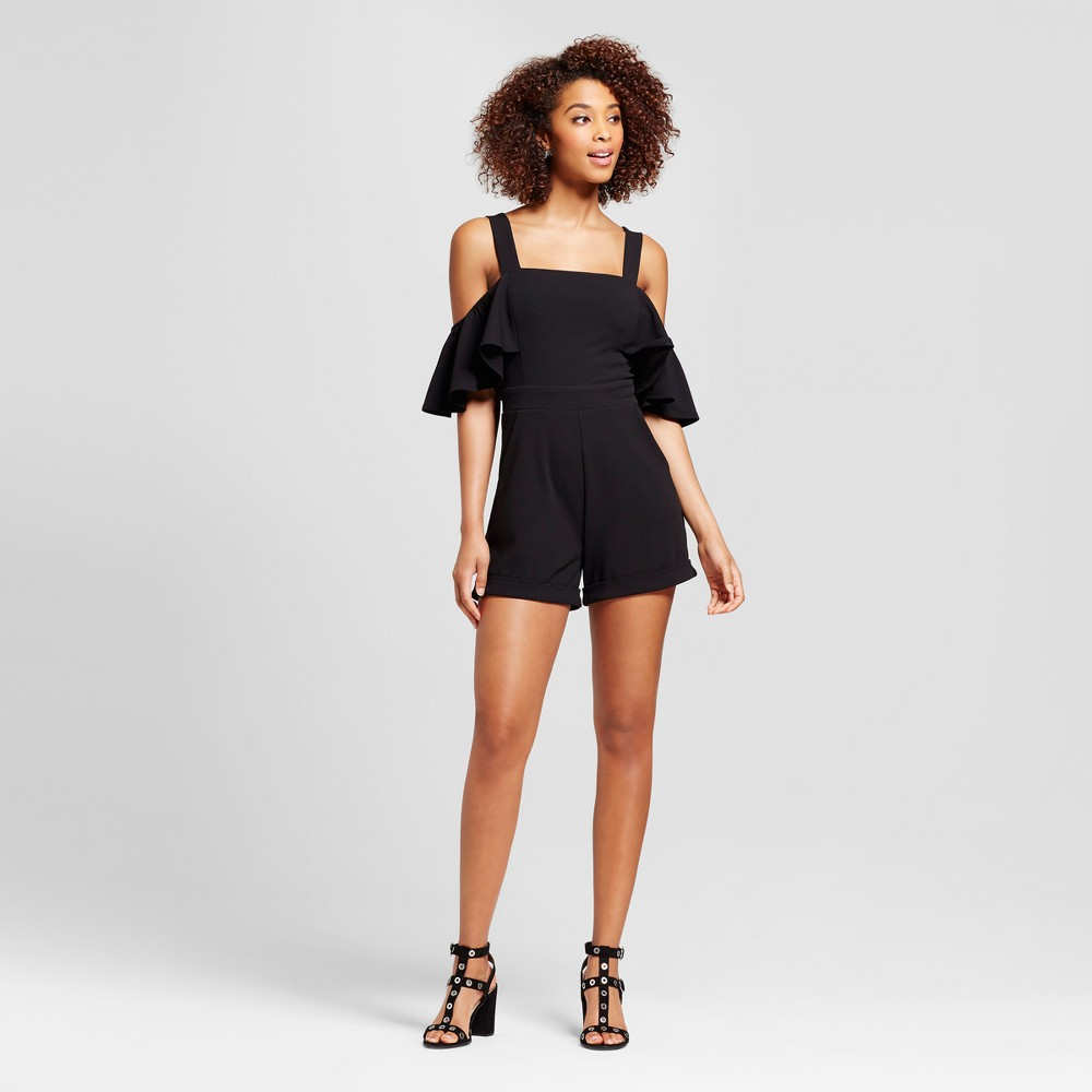 Womens Cold Shoulder Ruffle Sleeve Romper - Xoxo (Juniors) Black L