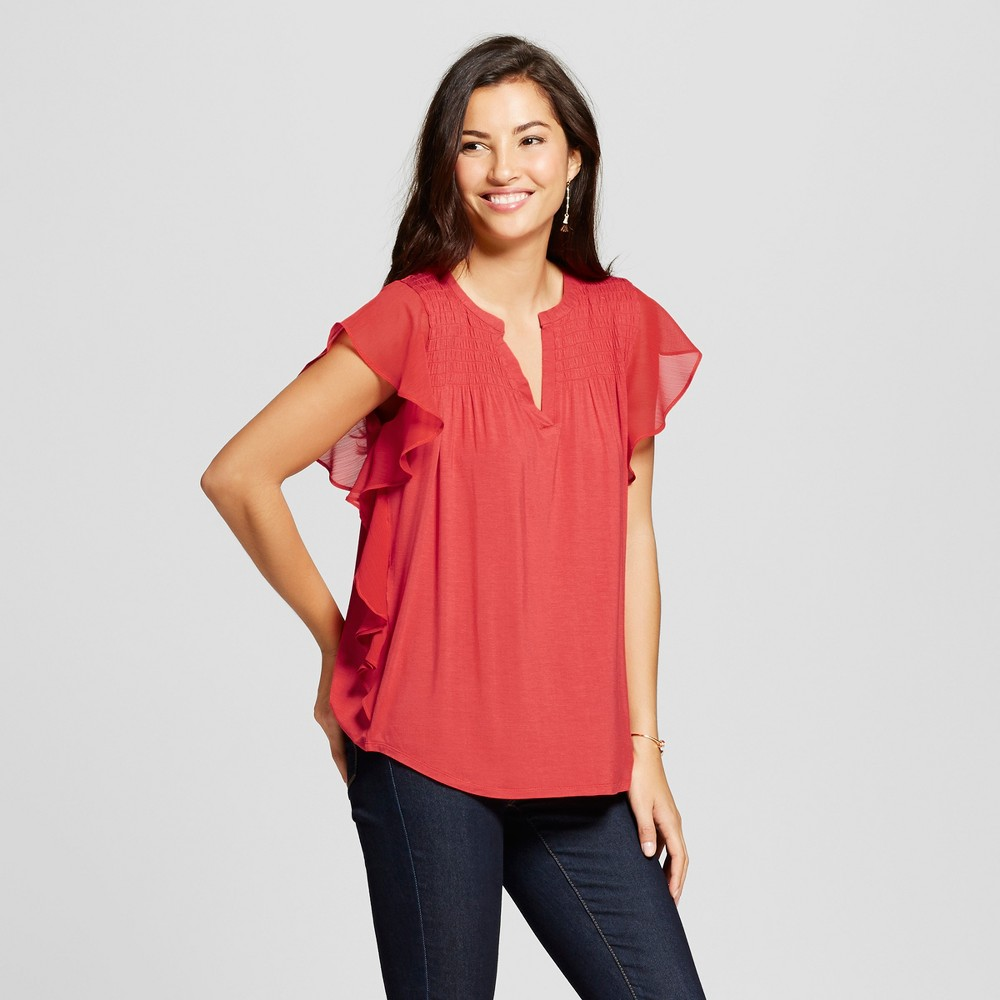 Womens Knit Flutter Sleeve with Smocked Yoke - August Moon - Red S