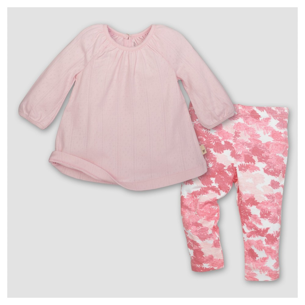 Burts Bees Baby Girls Organic Cotton Long Sleeve Dress and Pant Set 2pc Blossom - Pink 3-6 M