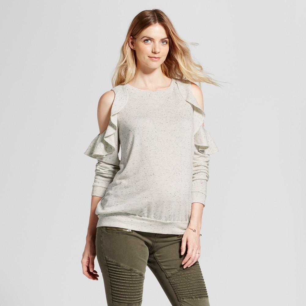 Maternity Cold Shoulder Ruffle Sweatshirt - Isabel Maternity by Ingrid & Isabel Cream (Ivory) XL, Infant Girls
