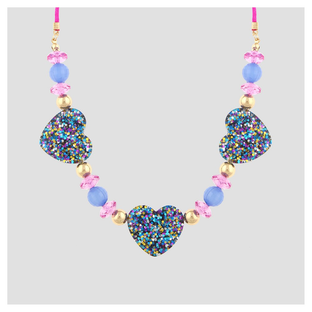 Girls Glitter Hearts Statement Necklace - Cat & Jack, Multi-Colored