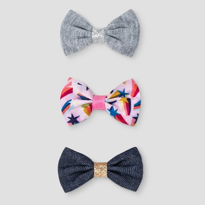 Girls' 3pk Bow Hair Clips - Cat & Jack™ Multi-Colored