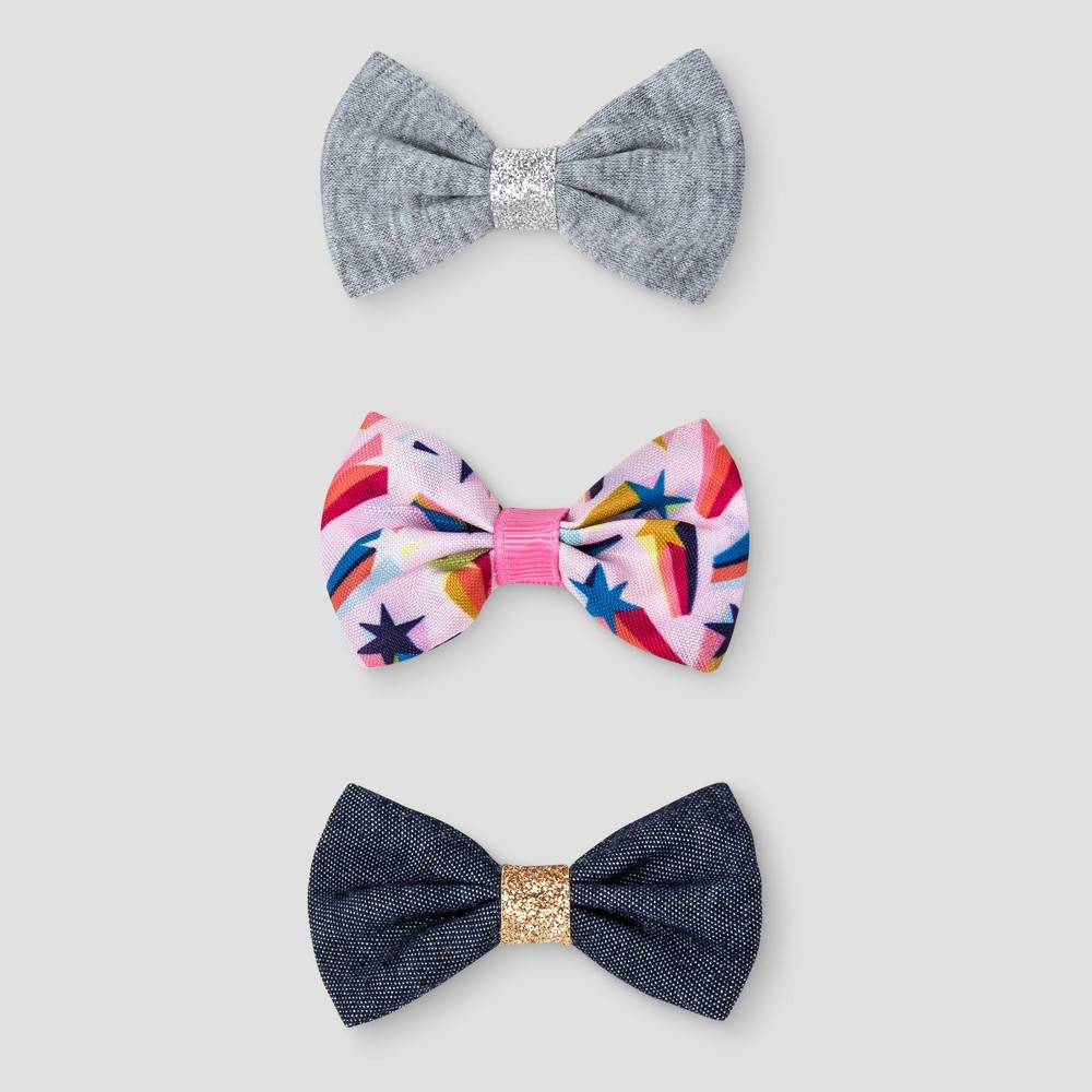 Girls 3pk Bow Hair Clips - Cat & Jack Multi-Colored