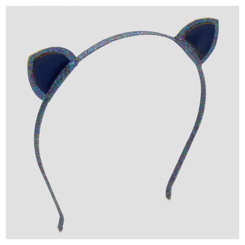 Girls Kitty Glitter Headband - Cat & Jack Navy (Blue)