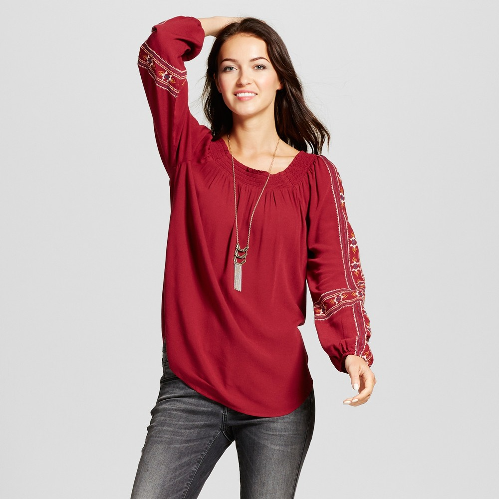 Womens Embroidered Sleeve Off the Shoulder Top - Knox Rose Burgundy S, Red