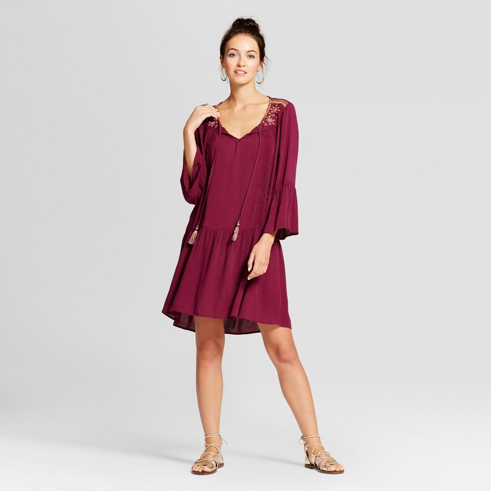 Womens Tassel Tie Embroidered Bell Sleeve Dress - Knox Rose Merlot XS, Purple