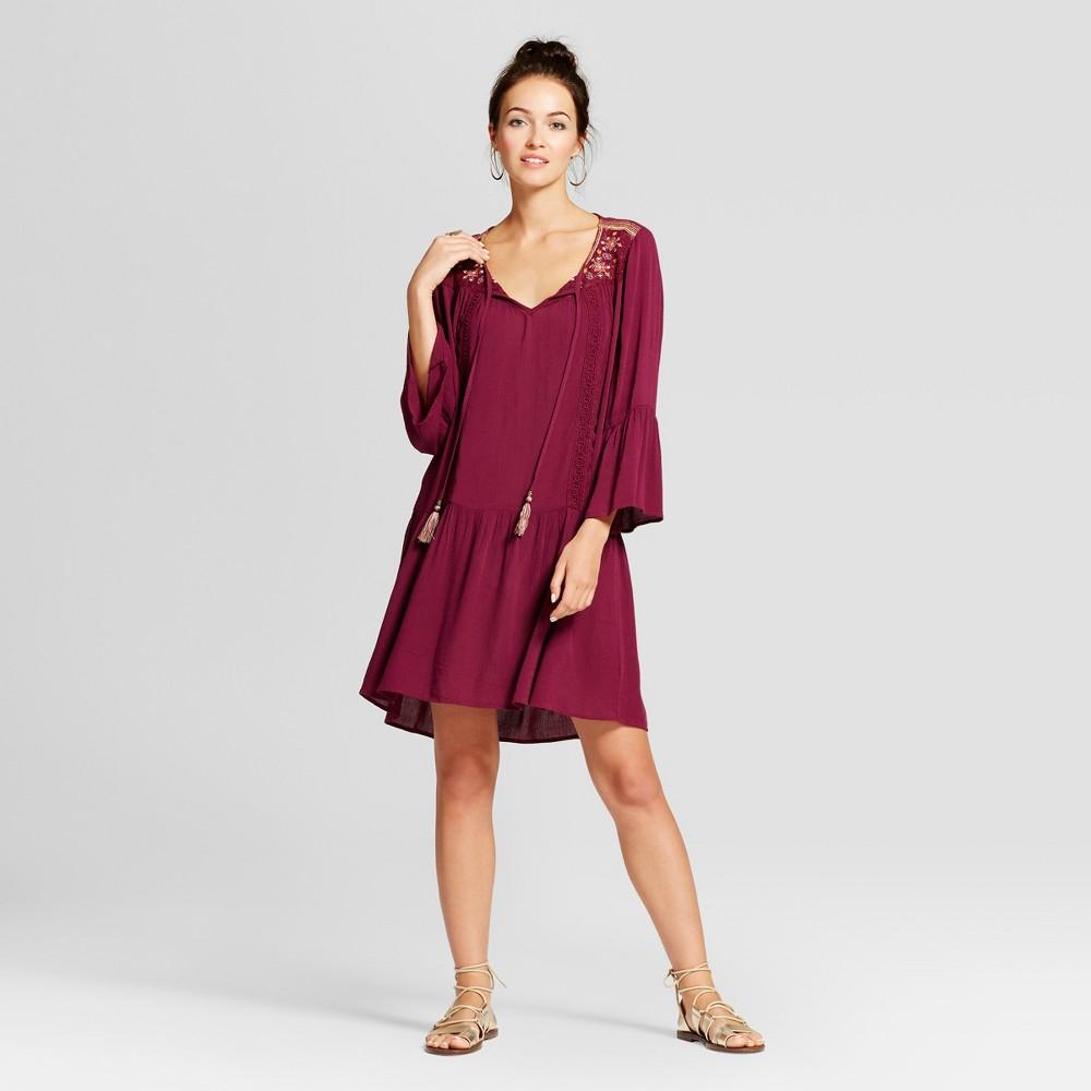 Womens Tassel Tie Embroidered Bell Sleeve Dress - Knox Rose Merlot S, Purple