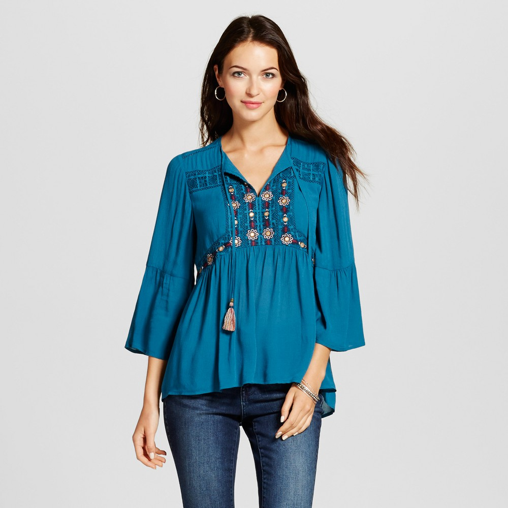 Womens Embroidered Peasant Peplum Top - Knox Rose Teal L, Blue