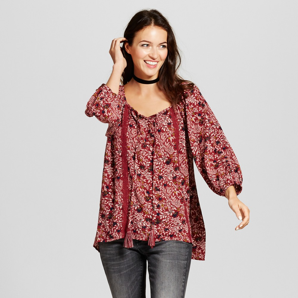 Womens Lace Trim Floral Print Top - Knox Rose XL, Red
