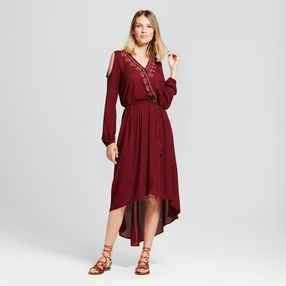 Womens Embroidered Faux Wrap Cold Shoulder Dress - Knox Rose Burgundy S, Red