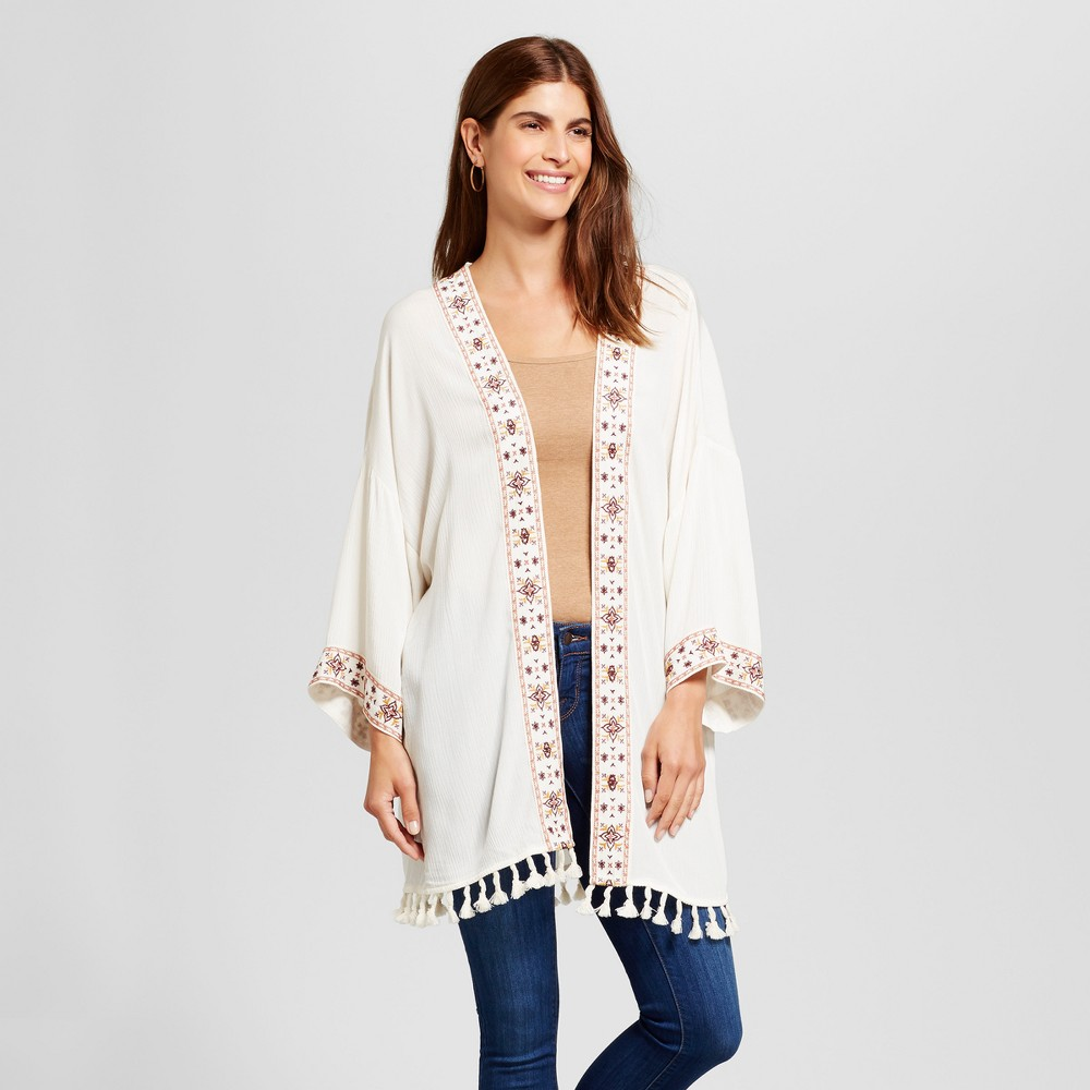 Womens Embroidered Trim Woven Jacket - Knox Rose Ivory M, White