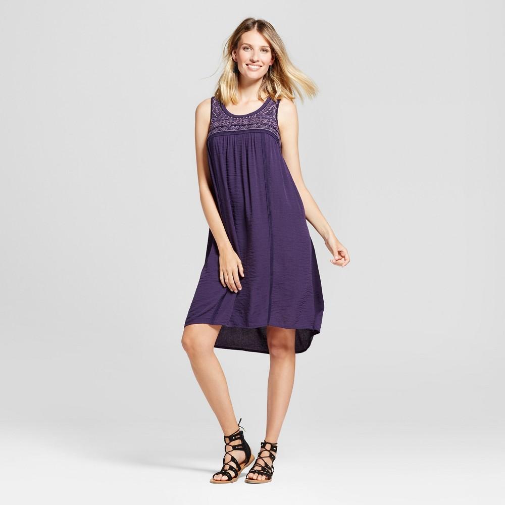 Womens Embroidered Sleeveless Dress - Knox Rose Plum S, Purple