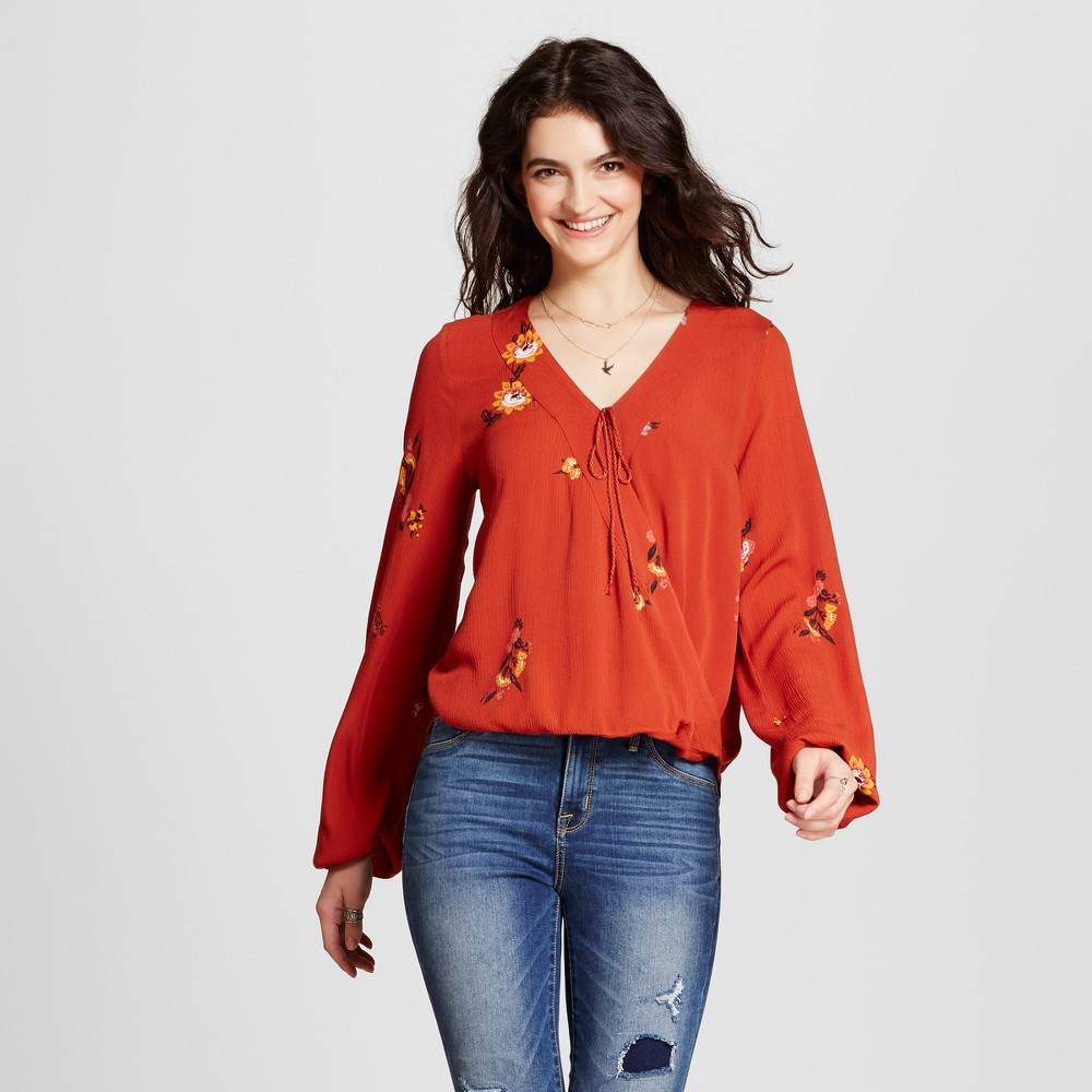 Womens Printed Wrap Top - Mossimo Supply Co. Rust XS, Red
