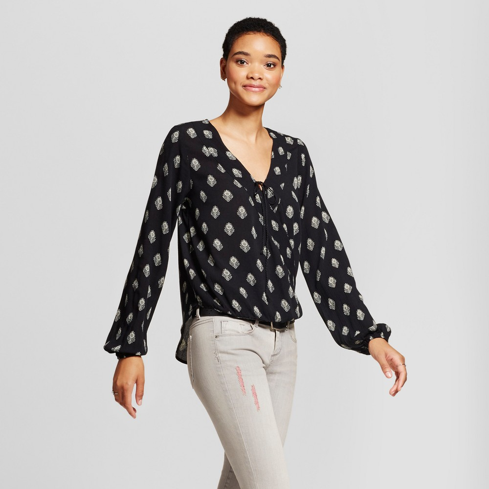 Womens Printed Wrap Top - Mossimo Supply Co. Black L