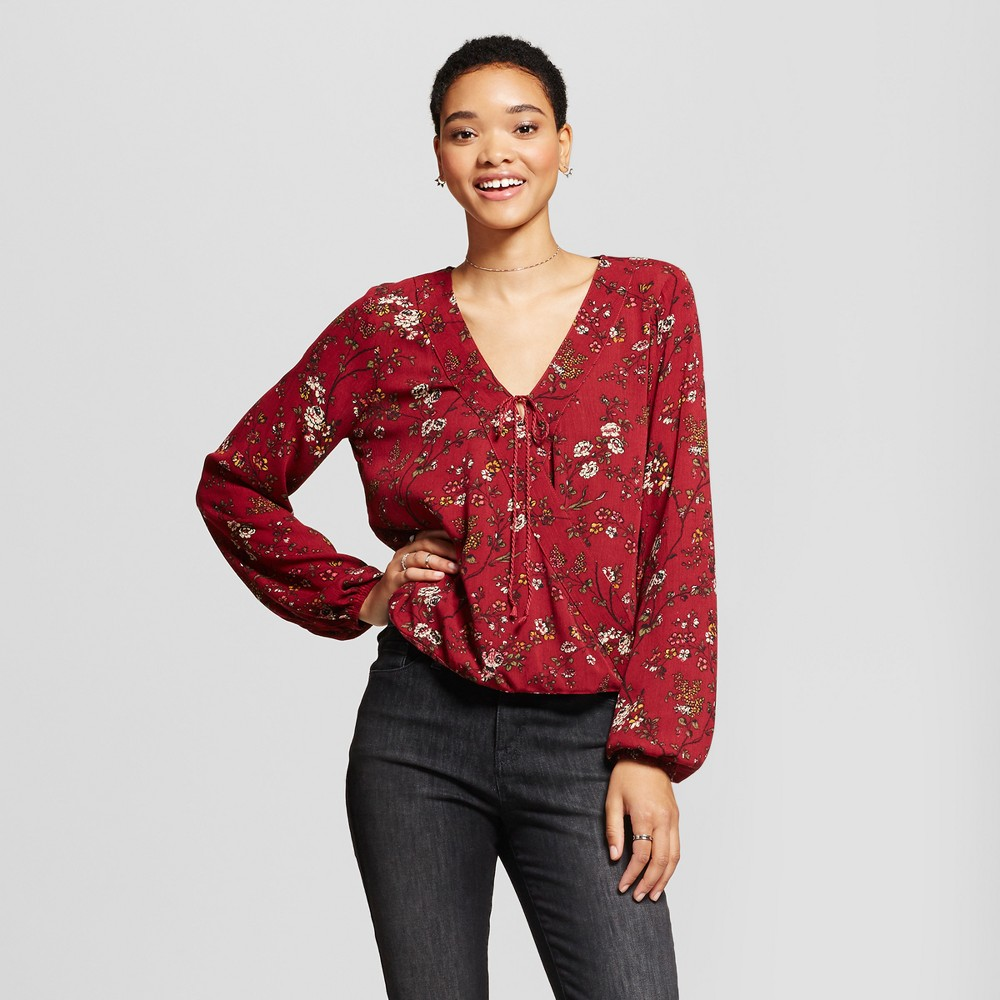Womens Printed Wrap Top - Mossimo Supply Co. Burgundy L, Red