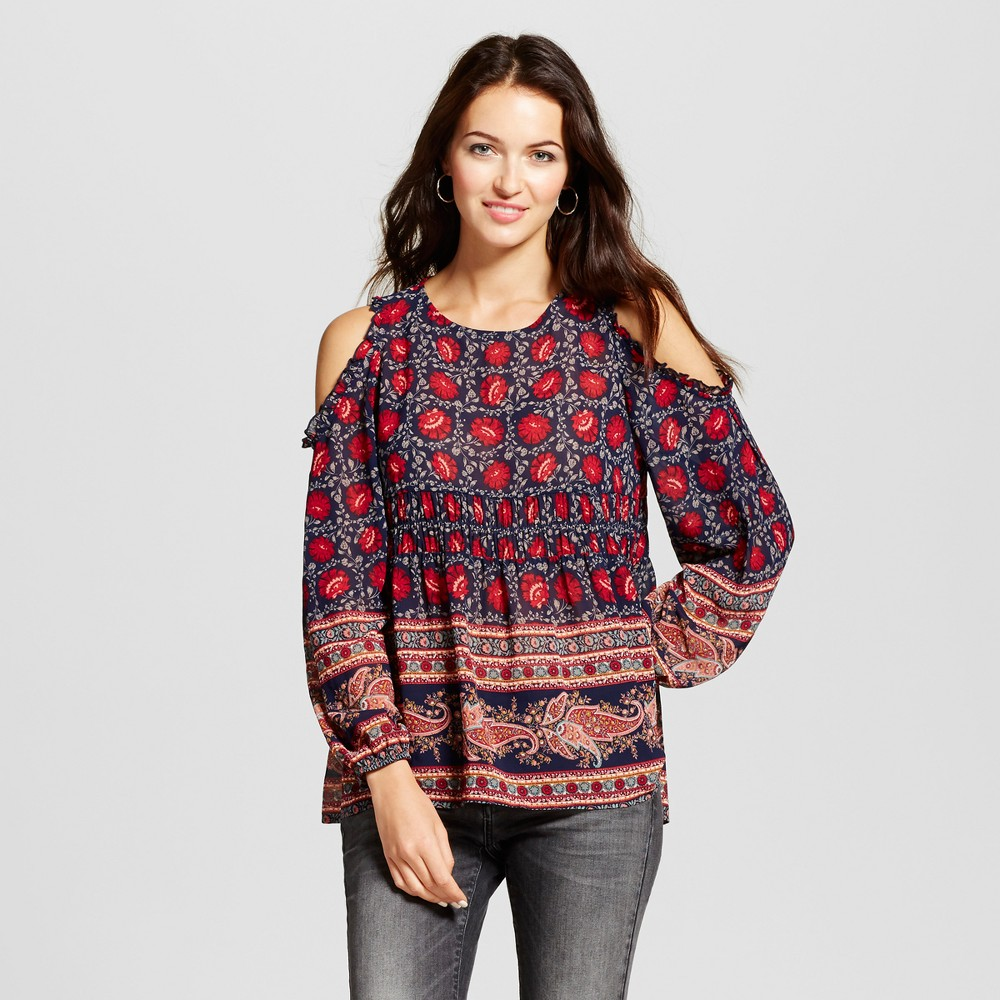Womens Ruffle Cold Shoulder Printed Top - Knox Rose Navy/Burgundy XS, Multicolored