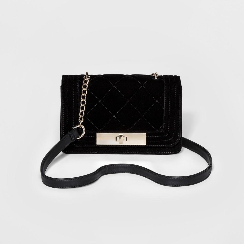 Womens Velvet Crossbody Bags - Mossimo Black