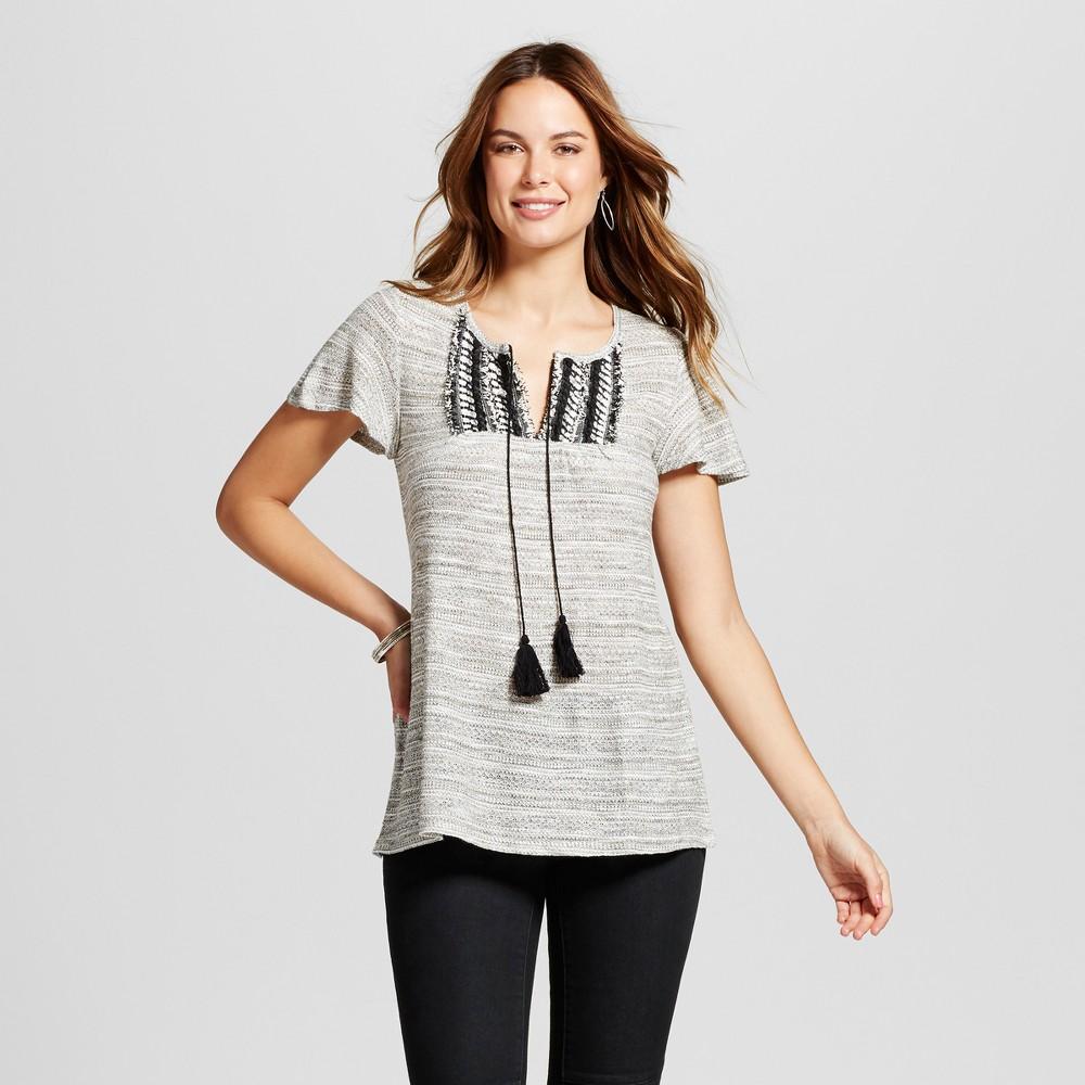 Womens Braided Yoke Metallic Sweater - Knox Rose Metallic Gray XS