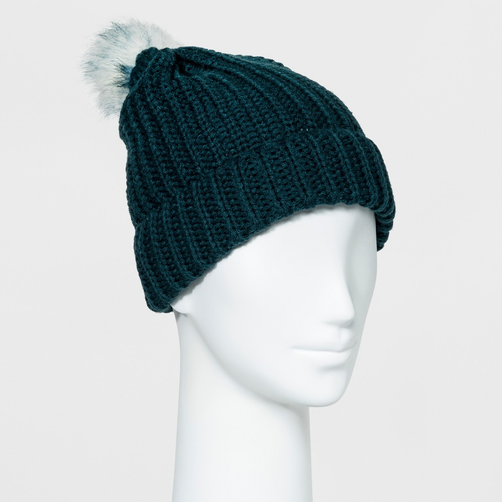 Womens Cuff Beanie with Pom - Mossimo Supply Co. English Teal
