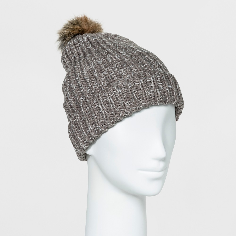 Womens Cuff Beanie with Pom - Mossimo Supply Co. Gray Marl