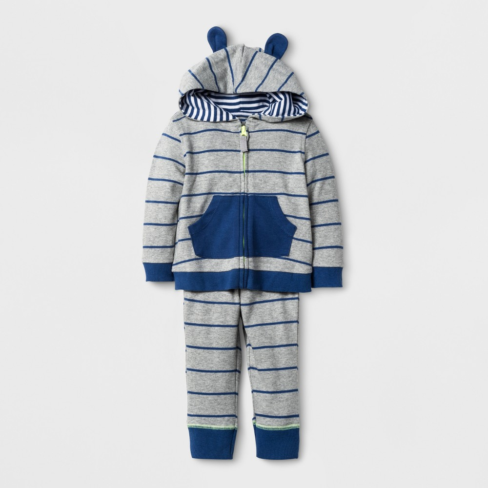 Baby Boys 2pc Stripe Hoodie and Jogger Set Cloud Island - Navy NB, Blue