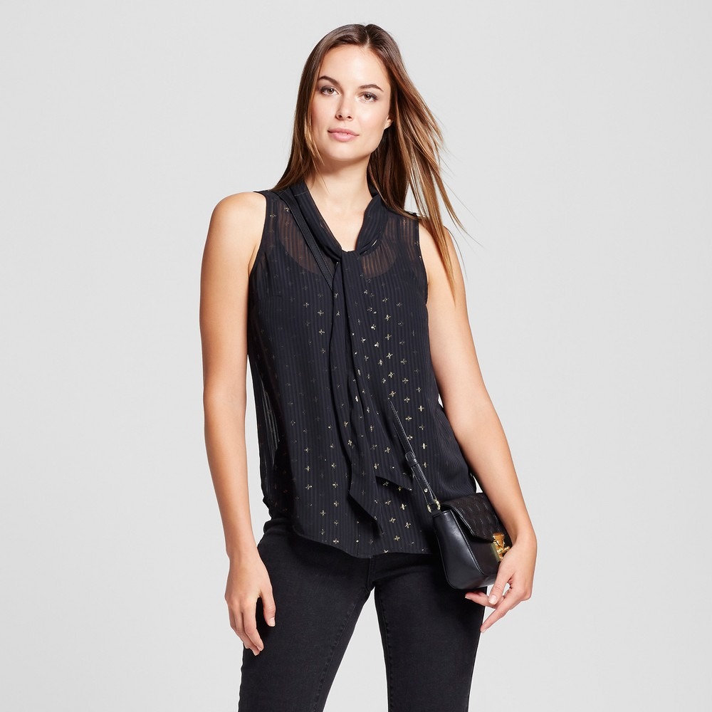 Womens Printed Tie Neck Blouse - A New Day Black M