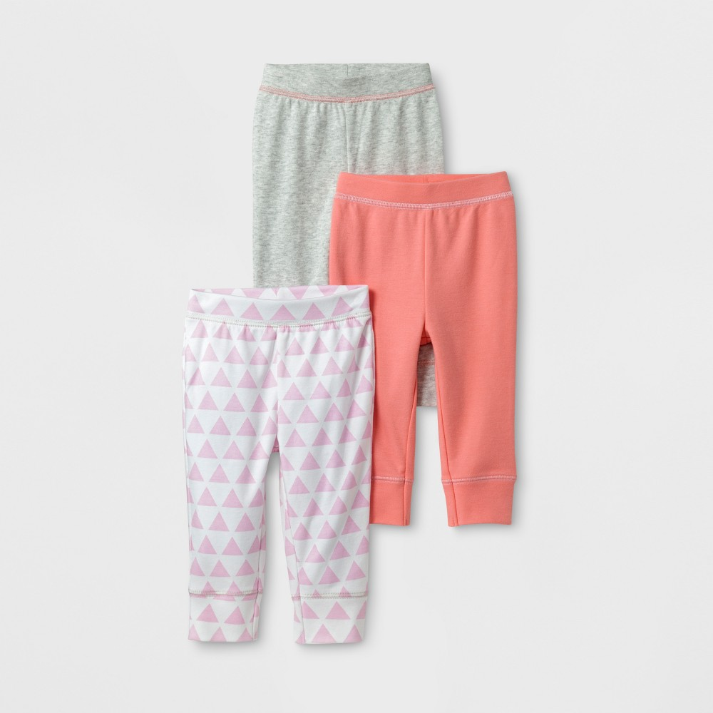 Baby Girls 3pk Pants Cloud Island - Coral/Gray 3-6M, Pink