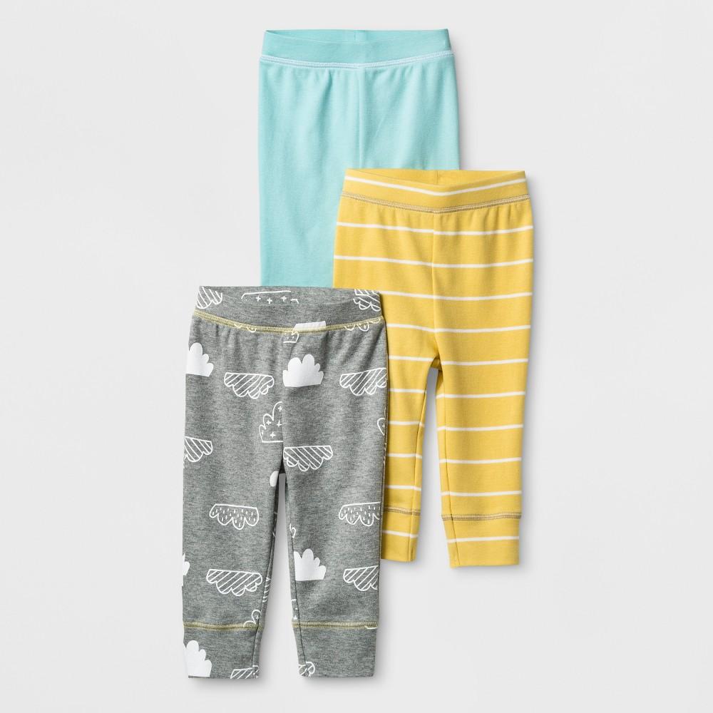 Baby 3pk Pants Cloud Island - Gray/Yellow 0-3M, Infant Unisex