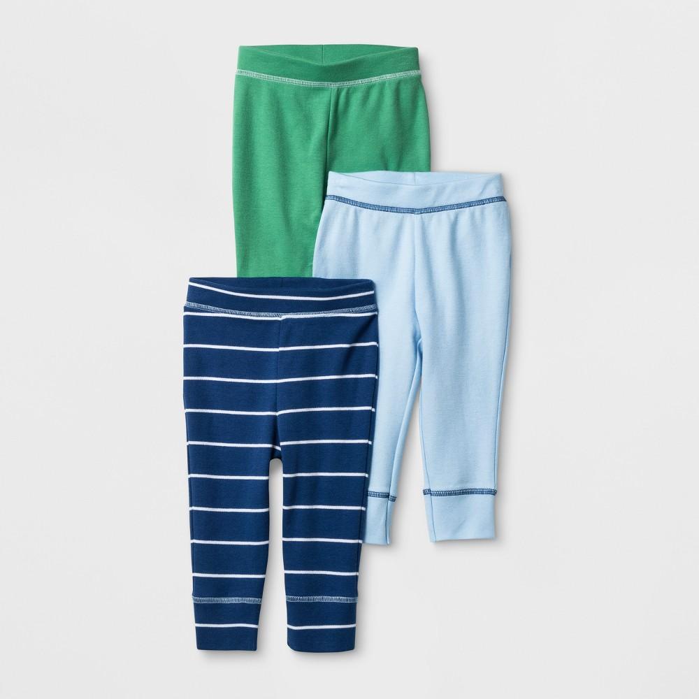 Baby Boys 3pk Pants Cloud Island - Blue/Green Preemie