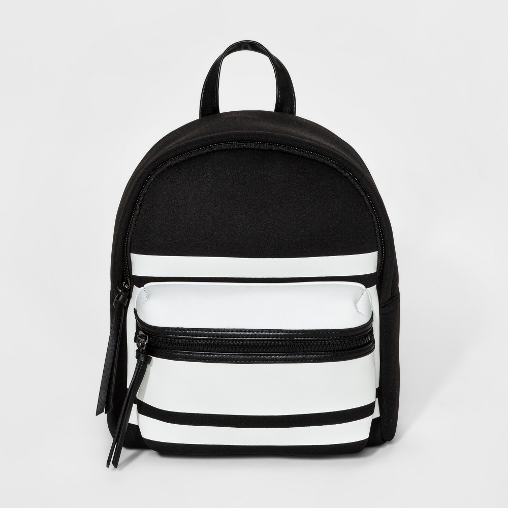 Womens Stripe Neoprene Mini Backpack - Mossimo Supply Co. Black/White