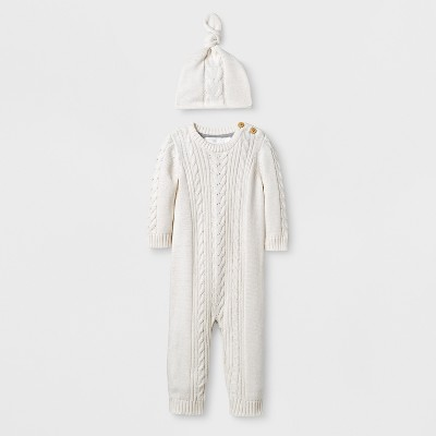 Baby 2pc Cable Knit Sweater Coverall Set Cloud Island™ - Almond Cream 0-3M