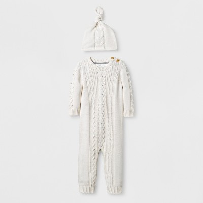 Baby 2pc Cable Knit Sweater Coverall Set Cloud Island™ - Almond Cream 6-9M