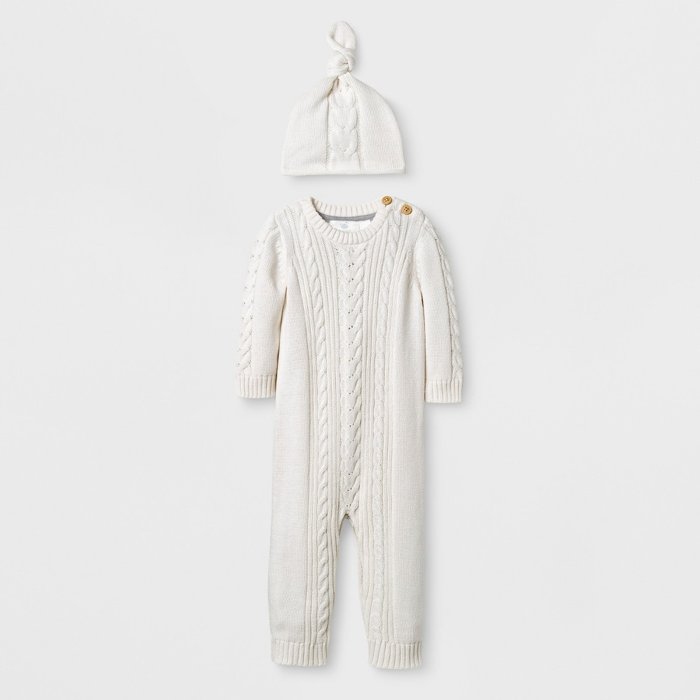 Baby 2pc Cable Knit Sweater Coverall Set Cloud Island - Almond Cream 6-9M, Infant Unisex, White